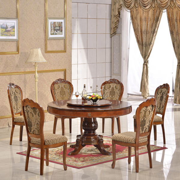 Wood Carving Round Dining Table And